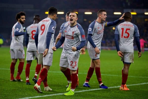 BURNLEY, ENGLAND - Wednesday, December 5, 2018: Liverpool's Xherdan Shaqiri celebrates scoring the third goal with team-mates during the FA Premier League match between Burnley FC and Liverpool FC at Turf Moor. (Pic by David Rawcliffe/Propaganda)