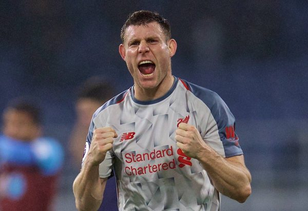 BURNLEY, ENGLAND - Wednesday, December 5, 2018: Liverpool's James Milner celebrates after the FA Premier League match between Burnley FC and Liverpool FC at Turf Moor. Liverpool won 3-1. (Pic by David Rawcliffe/Propaganda)