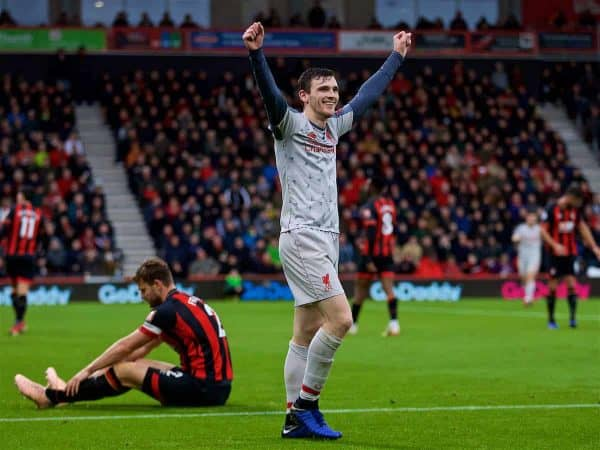 BOURNEMOUTH, ENGLAND - Saturday, December 8, 2018: Liverpool's Andy Robertson celebrates after forcing an own-goal from AFC Bournemouth's captain Simon Francis during the FA Premier League match between AFC Bournemouth and Liverpool FC at the Vitality Stadium. (Pic by David Rawcliffe/Propaganda)