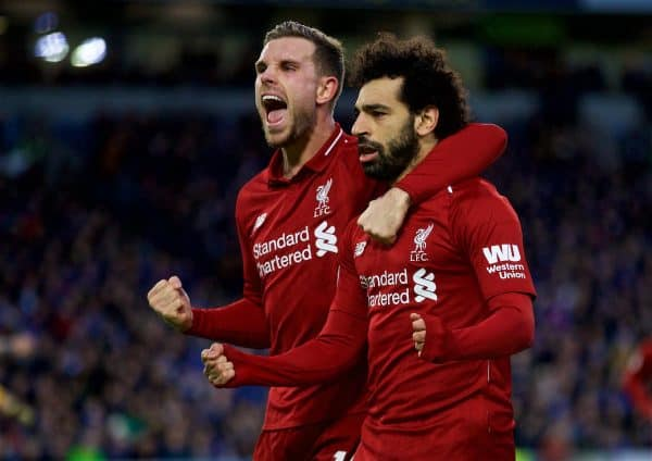 BRIGHTON AND HOVE, ENGLAND - Saturday, January 12, 2019: Liverpool's Mohamed Salah (R) celebrates scoring the first goal with team-mate captain Jordan Henderson (L) during the FA Premier League match between Brighton & Hove Albion FC and Liverpool FC at the American Express Community Stadium. (Pic by David Rawcliffe/Propaganda)