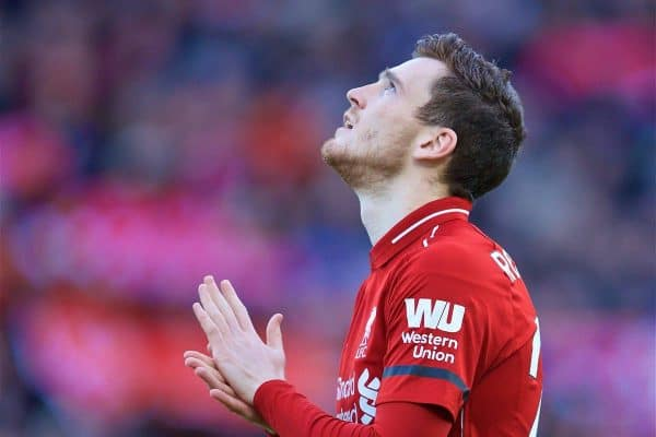LIVERPOOL, ENGLAND - Saturday, February 9, 2019: Liverpool's Andy Robertson before the FA Premier League match between Liverpool FC and AFC Bournemouth at Anfield. (Pic by David Rawcliffe/Propaganda)