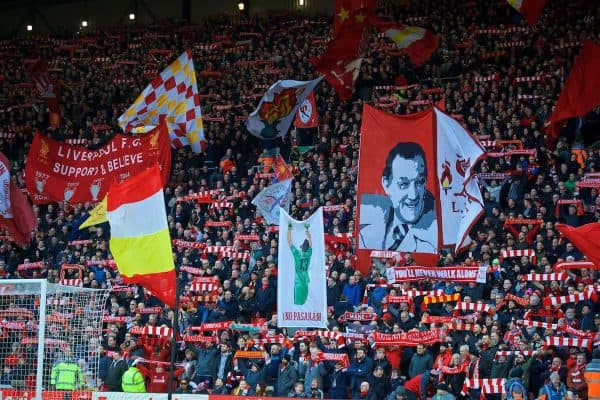 LIVERPOOL, ENGLAND - Saturday, February 9, 2019: Liverpool supporters on the Spion Kop before the FA Premier League match between Liverpool FC and AFC Bournemouth at Anfield. (Pic by David Rawcliffe/Propaganda)