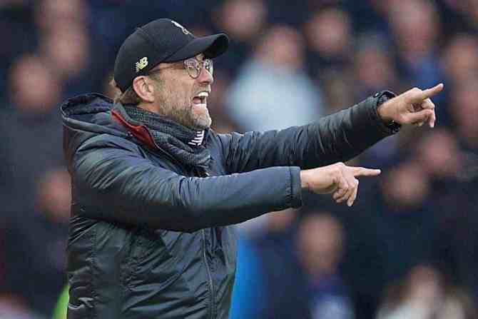 LIVERPOOL, ENGLAND - Sunday, March 31, 2019: Liverpool's manager J¸rgen Klopp reacts during the FA Premier League match between Liverpool FC and Tottenham Hotspur FC at Anfield. (Pic by David Rawcliffe/Propaganda)