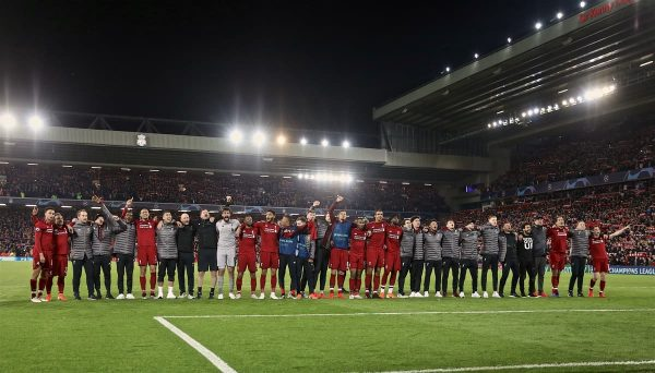 LIVERPOOL, ENGLAND - Tuesday, May 7, 2019: Liverpool players and staff celebrate after the UEFA Champions League Semi-Final 2nd Leg match between Liverpool FC and FC Barcelona at Anfield. Liverpool won 4-0 (4-3 on aggregate). (Pic by David Rawcliffe/Propaganda)