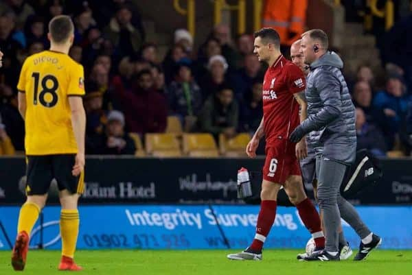 WOLVERHAMPTON, ENGLAND - Monday, January 7, 2019: Liverpool's Dejan Lovren goes off injured during the FA Cup 3rd Round match between Wolverhampton Wanderers FC and Liverpool FC at Molineux Stadium. (Pic by David Rawcliffe/Propaganda)