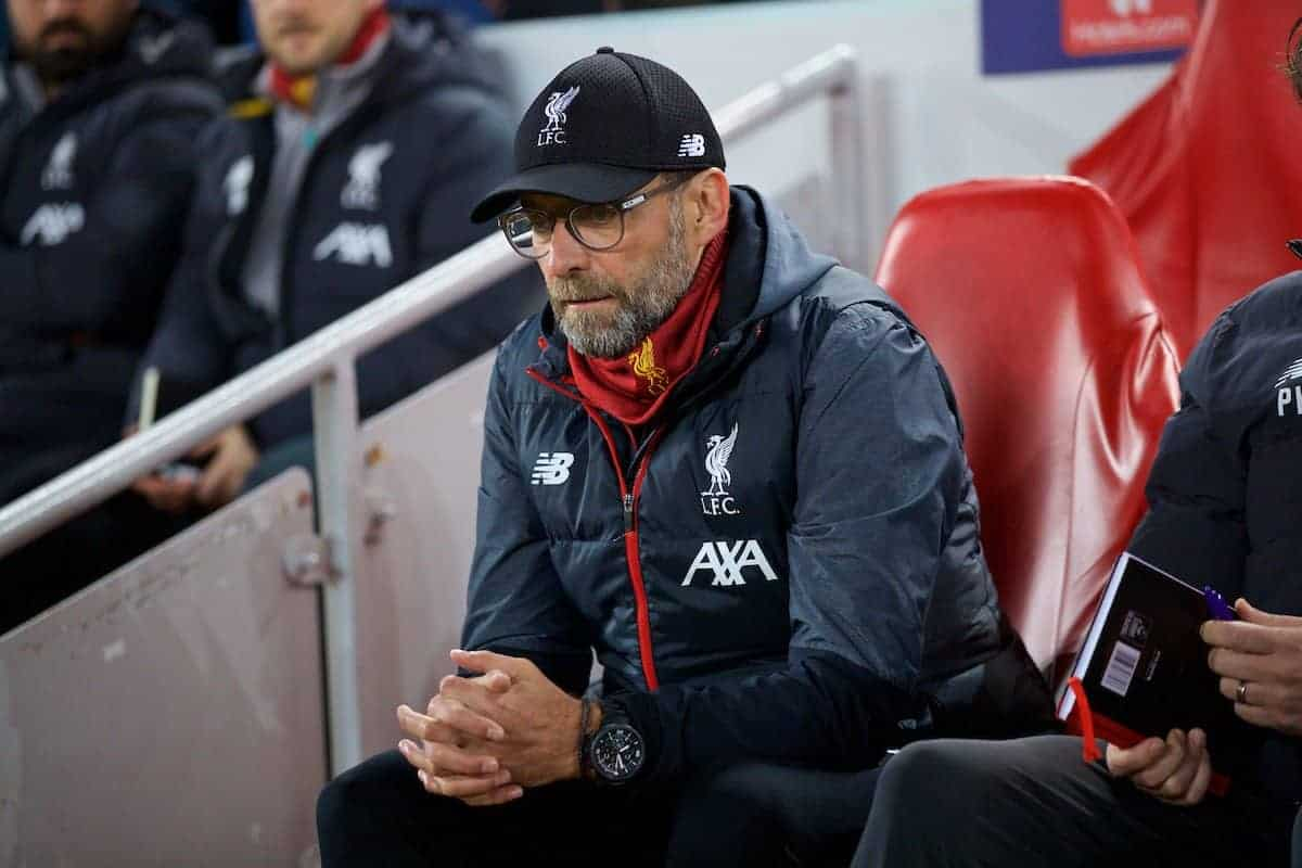 LIVERPOOL, ENGLAND - Wednesday, November 27, 2019: Liverpool's manager Jürgen Klopp before the UEFA Champions League Group E match between Liverpool FC and SSC Napoli at Anfield. (Pic by David Rawcliffe/Propaganda)