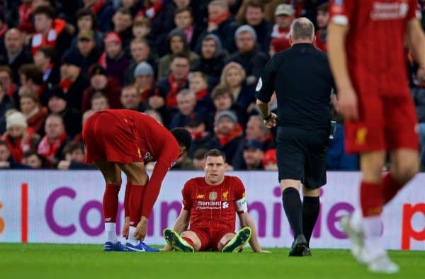 LIVERPOOL, ENGLAND - Sunday, January 5, 2020: Liverpool's James Milner sits injured during the FA Cup 3rd Round match between Liverpool FC and Everton FC, the 235th Merseyside Derby, at Anfield. (Pic by David Rawcliffe/Propaganda)