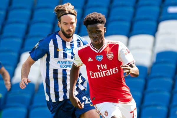 BRIGHTON & HOVE, ENGLAND - Saturday, June 20, 2020: Arsenal's Bukayo Saka during the FA Premier League match between Brighton & Hove Albion FC and Arsenal FC at the AMEX Stadium. (Pic by David Rawcliffe/Propaganda)