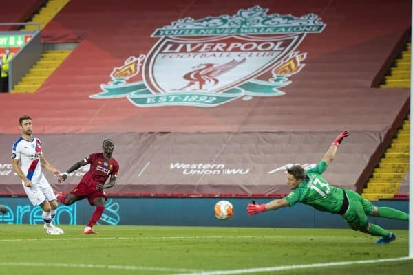 LIVERPOOL, ENGLAND - Wednesday, June 24, 2020: Liverpool's Sadio Mané scores the fourth goal past Crystal Palace's goalkeeper Wayne Hennessey during the FA Premier League match between Liverpool FC and Crystal Palace FC at Anfield. The game was played behind closed doors due to the UK government's social distancing laws during the Coronavirus COVID-19 Pandemic. (Pic by David Rawcliffe/Propaganda)