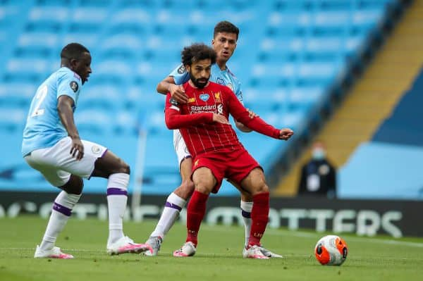 MANCHESTER, ENGLAND - Thursday, July 2, 2020: Liverpool's Mohamed Salah during the FA Premier League match between Manchester City FC and Liverpool FC at the City of Manchester Stadium. The game was played behind closed doors due to the UK government's social distancing laws during the Coronavirus COVID-19 Pandemic. This was Liverpool's first game as Premier League 2019/20 Champions. (Pic by Propaganda)