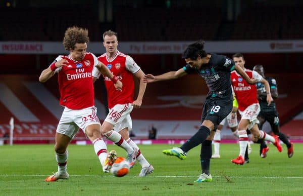 LONDON, ENGLAND - Tuesday, July 14, 2020: Liverpool's Takumi Minamino during the FA Premier League match between Arsenal FC and Liverpool FC at the Emirates Stadium. The game was played behind closed doors due to the UK government's social distancing laws during the Coronavirus COVID-19 Pandemic. (Pic by David Rawcliffe/Propaganda)
