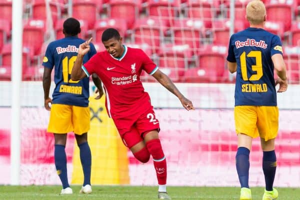 SALZBURG, AUSTRIA - Tuesday, August 25, 2020: Liverpool's Rhian Brewster celebrates scoring the second goal during a preseason friendly match between FC Red Bull Salzburg and Liverpool FC at the Red Bull Arena. (Pic by Propaganda)