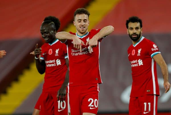 LIVERPOOL, ENGLAND - Saturday, October 31, 2020: Liverpool's Diogo Jota celebrates after scoring the second goal, but it was disallowed after a VAR review, he scored a second goal that stood a few minutes later, during the FA Premier League match between Liverpool FC and West Ham United FC at Anfield. The game was played behind closed doors due to the UK government's social distancing laws during the Coronavirus COVID-19 Pandemic. (Pic by Propaganda)