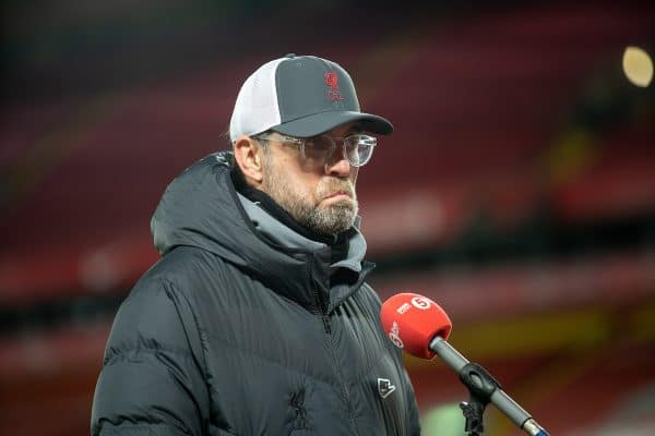 LIVERPOOL, ENGLAND - Thursday, March 4, 2021: Liverpool's manager Jürgen Klopp is interviewed after the FA Premier League match between Liverpool FC and Chelsea FC at Anfield. (Pic by David Rawcliffe/Propaganda)