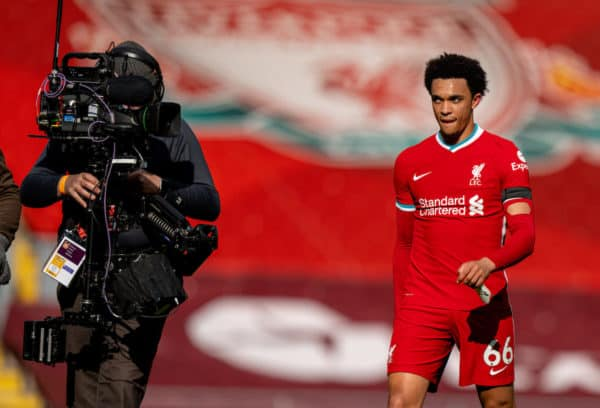 LIVERPOOL, ENGLAND - Saturday, April 10, 2021: Liverpool's match-winning goal-scorer Trent Alexander-Arnold after the FA Premier League match between Liverpool FC and Aston Villa FC at Anfield. (Pic by David Rawcliffe/Propaganda)