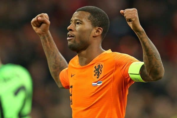 19.11.2019, Fussball, L‰nderspiel, EM Qualifikation, Gruppe C, 10. Spieltag, Niederlande - Estland, in der Johan Cruijff ArenA Amsterdam. Jubel Torsch¸tze Georginio Wijnaldum Niederlande zum Tor zum 3:0 *** 19 11 2019, football, international, European Championship qualification, Group C, 10 matchday, Netherlands Estonia, in the Johan Cruijff ArenA Amsterdam Jubilee goal scorer Georginio Wijnaldum Netherlands to the goal to 3-0.