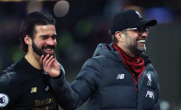 Liverpool manager Jurgen Klopp (right) congratulates goalkeeper Alisson after the final whistle (Steven Paston/EMPICS Sport)