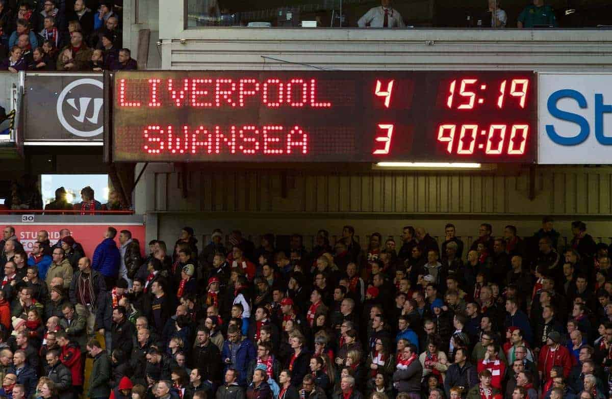 LIVERPOOL, ENGLAND - Sunday, February 23, 2014: Liverpool's scoreboard records the dramatic 4-3 victory over Swansea City during the Premiership match at Anfield. (Pic by David Rawcliffe/Propaganda)