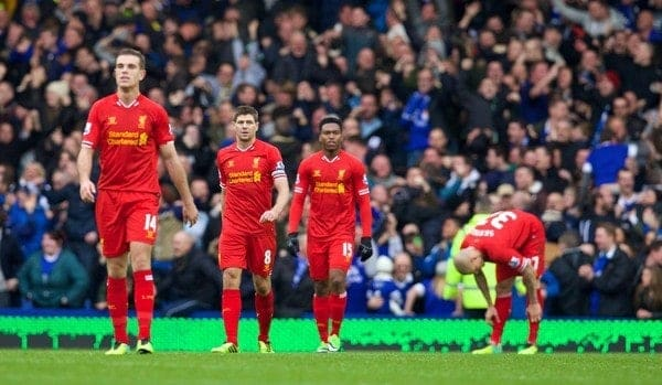 LIVERPOOL, ENGLAND - Saturday, November 23, 2013: Liverpool's Jordan Henderson, captain Steven Gerrard, Daniel Sturridge and Martin Skrtel looks dejected after Everton's third goal during the 221st Merseyside Derby Premiership match at Goodison Park. (Pic by David Rawcliffe/Propaganda)