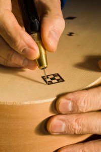 Inlay on a guitar under construction in Clive Titmuss' workshop in West Kelowna BC