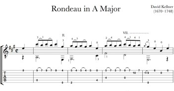 Rondeau in A by Kellner for Guitar (Free PDF)