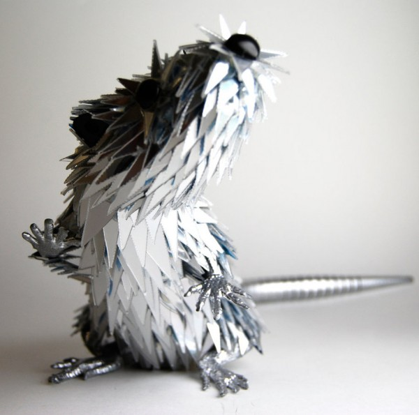Animal Sculptures Made from Shattered CDs sculpture mixed media CDs art