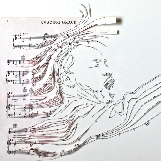 Reconfigured Sheet Music Collages paper music collage art
