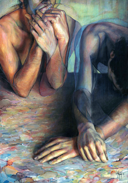 Colorful Portraits, Hands, and Figures Painted by David Agenjo painting art