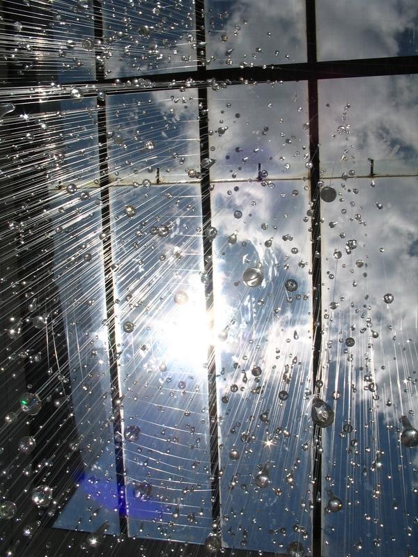 Rain: A Glass Raindrop Installation by Stacee Kalmanovsky rain installation art