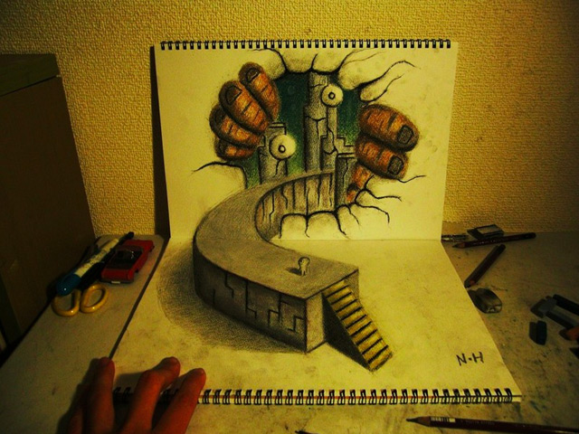 3D Illusion Sketchbook Drawings by Nagai Hideyuki optical illusion illustration drawing 3d