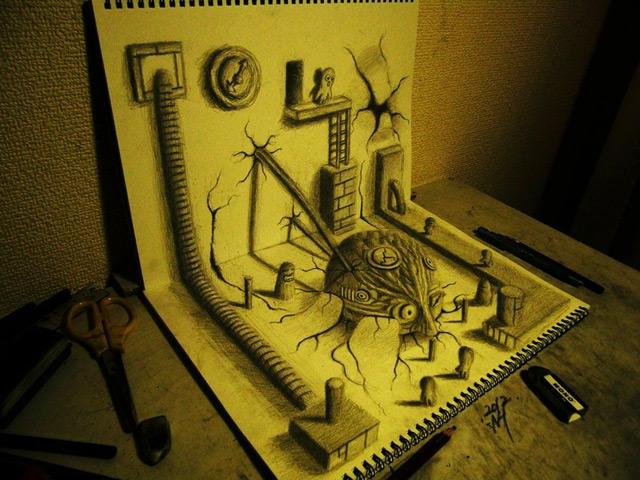 3D Illusion Sketchbook Drawings by Nagai Hideyuki optical illusion illustration drawing 3d