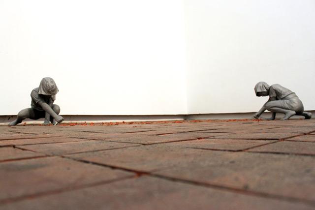 Gregor Gaidas Aluminum Boys Destroy Art Gallery Floors sculpture installation