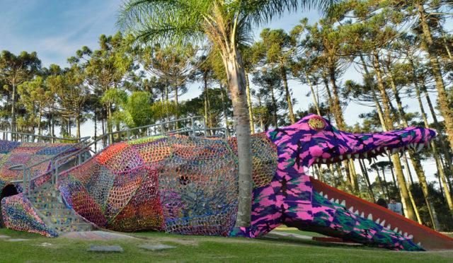 Crocheted Aligator Playground in São Paulo by Olek playgrounds crochet Brasil