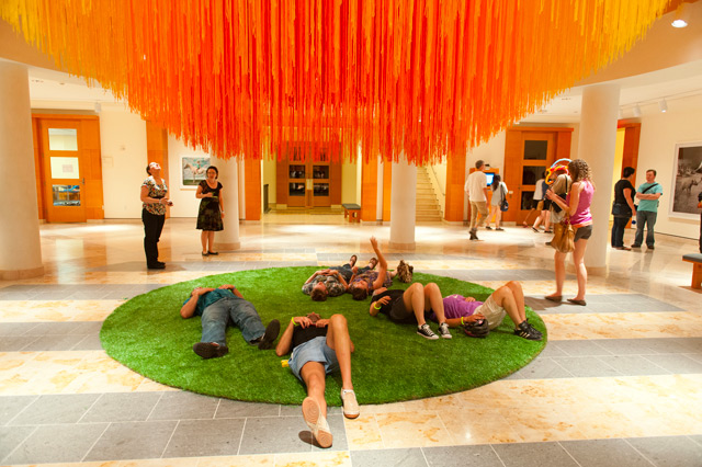 A Sun of Thread: 84 Miles of String Suspended at MIA by HOT TEA textile sun string installation