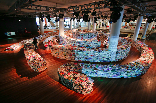 A Giant Labyrinth Constructed from 250000 Books  Colossal