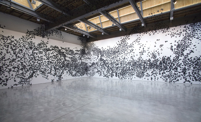 Black Cloud: Carlos Amorales Adorns Gallery Walls with Thousands of Black Paper Moths paper multiples installation butterflies