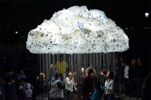 An Interactive Cloud Made of 6,000 Light Bulbs multiples lighting light installation clouds