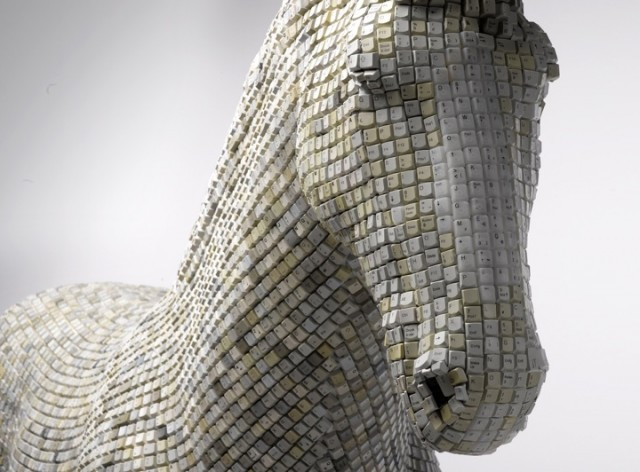 A Horse Made of Computer Keys by Babis Cloud sculpture multiples horses computers