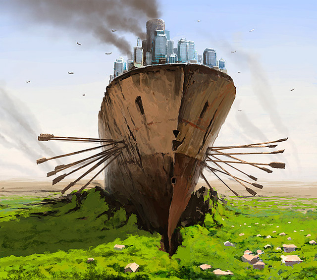 A Separate Reality: New Paintings of Dystopian Worlds by Alex Andreev science fiction painting illustration digital