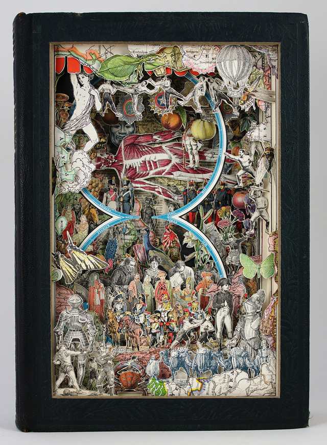 New Sculptural Collages Made from Antiquarian Books by Alexander Korzer Robinson sculpture paper collage books
