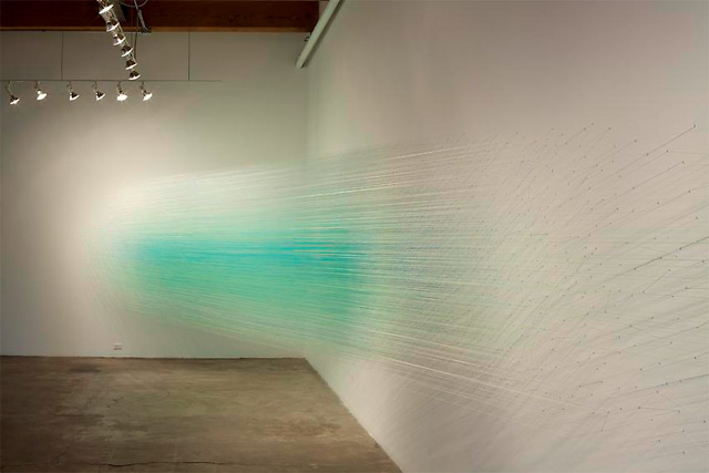 Anne Lindberg Creates A Cloud of Cotton Thread at Carrie Secrist Gallery thread installation