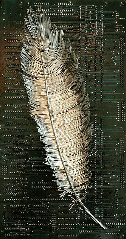 Circuit Board Fossils Paintings And Other Found Object Sculptures By