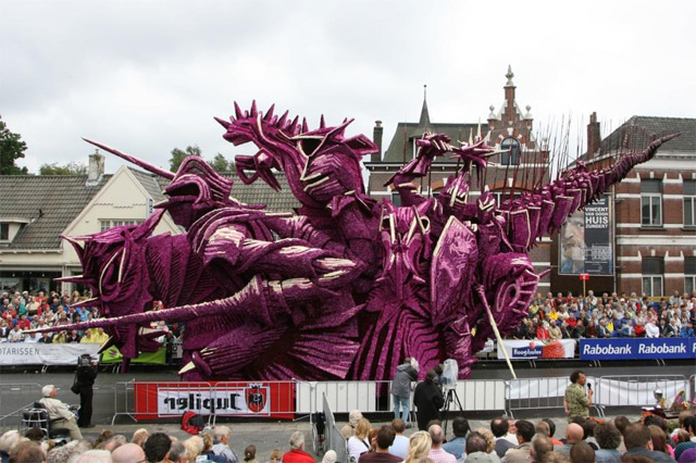 Towering Sculptures Made of Flowers on Display at Bloemencorso, A Flower Parade in Zundert, Netherlands sculptures parades Netherlands flowers