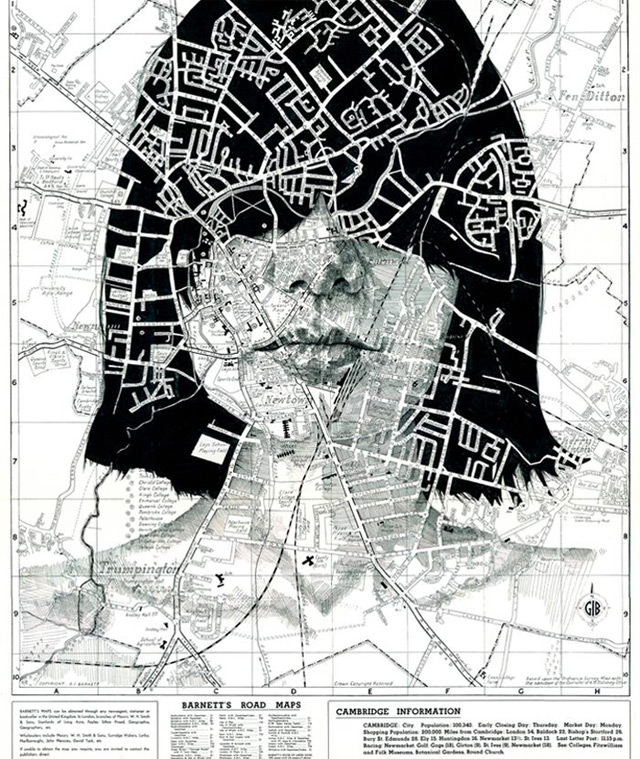 Portraits Drawn on Maps by Ed Fairburn portraits maps illustration
