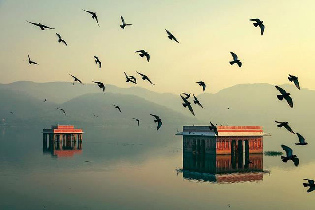 Jaipur India lake reflections