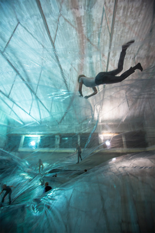 Face Your Fear of Heights by Walking on Air in this Massive Translucent Aerial Structure by Tomás Saraceno interactive installation flying