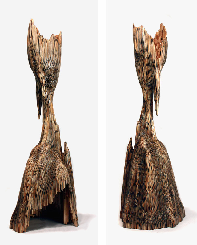 Organic Sculptures Sanded from Hundreds of Pencils by Jessica Drenk sculpture pencils multiples
