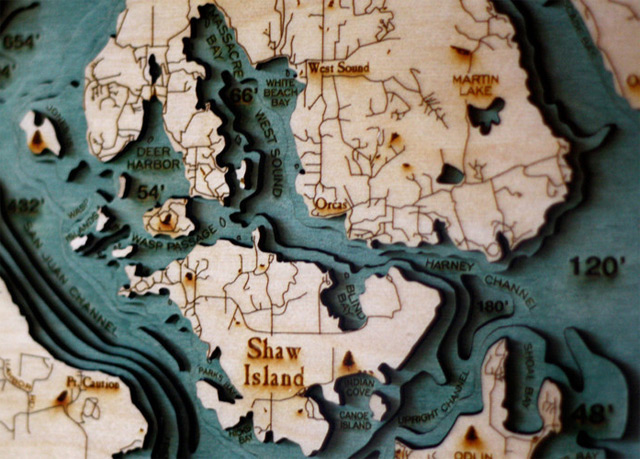 Explore the Underwater Topography of North American Lakes with these LaserCut Wood Maps by