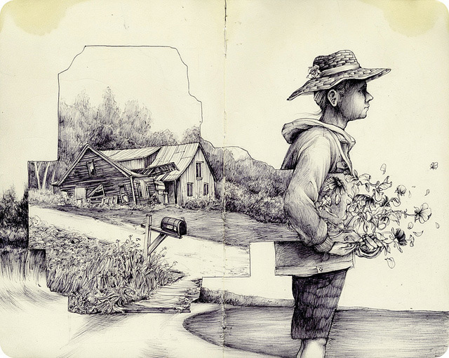 The Natural and Urban Collide in the Drawings of Pat Perry illustration drawing