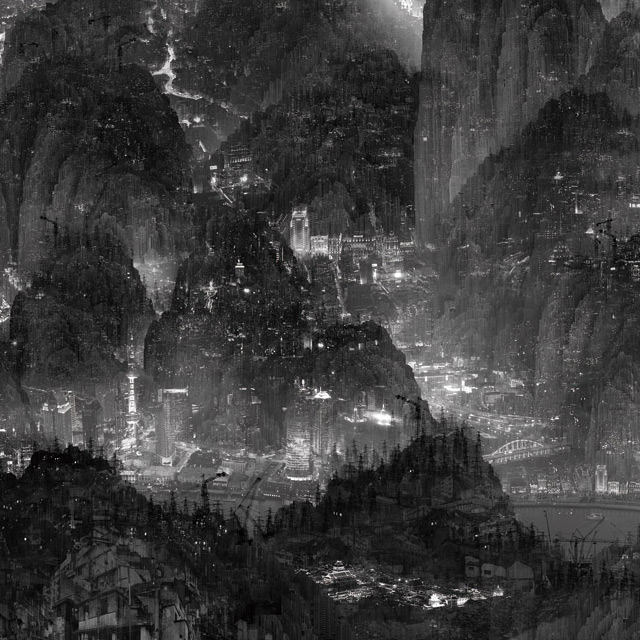 The Silent City: Digitally Assembled Futuristic Megalopolises by Yang Yongliang digital collage China